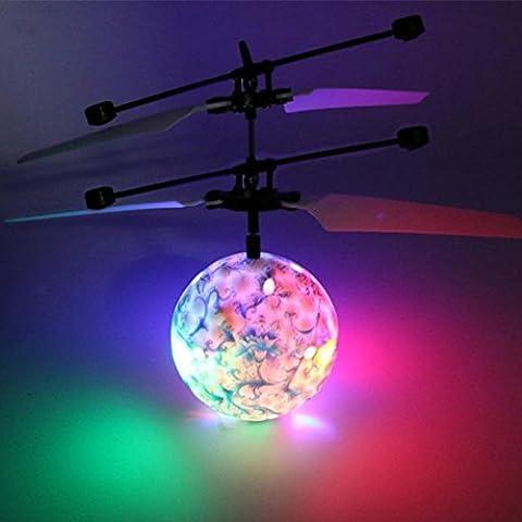 Yootu Spielzeug RC Fliegender Ball, Infrarot Induktion Hubschrauber Ball mit Rainbow Shining LED Lichter und Fernbedienung für Kinder, Flying Toy für Jungen und Mädchen Für kind (blau und weiß)