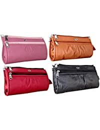 Flora Women Pu Leather Wallet Clutch Combo Of 4 (FLORA-113, multicolour)