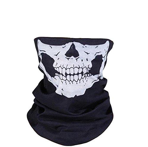 DDLBiz Skull Tubular Máscara contra el polvo Protección a prueba de viento, Pañuelo al aire libre sin costuras para Motocicleta, ciclismo, snowboard, escalada (Negro + Blanco)