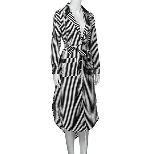 Sommer Amlaiworld damen mit aufdruck Stripe kleider locker V-Ausschnitt Lang Kleid Revers mode bluse kleidung Schwarz