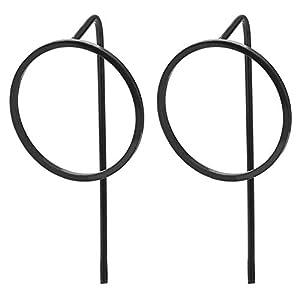 2 Herren Damen Edelstahl Schwarz Offenes Kreis Ohrstecker Ohrringe mit Extra Lange Post, Neuer Stil
