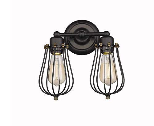 LED Deckenleuchte Wandleuchten 2-flammig Wandlampen Antik Deko Design Schwarz Draht Korb (ohne Birne) -