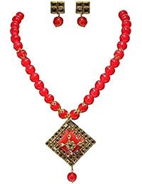 Akshita Creation Red Colour Beads Necklace Set For Women