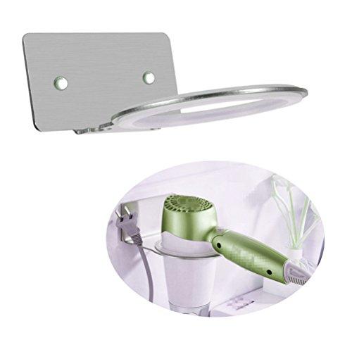 PEIUJIN Haartrocknerhalter zum Kleben Selbstklebend Fönhalter Gebürsteter Edelstahl mit Praktischem Kabelhalter (Typ A)