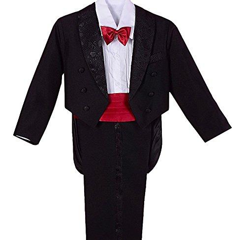 Lito Angels Jungen 5 Stück set Formale Tuxedo Anzug mit schwanz Formale Anlass outfit Page Boy Anzug Gr. 2 Jahre Schwarz Rot - Tuxedo-anzug