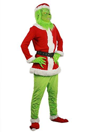 Kostüm Ein Grinch - Mesky Grinch Cosplay Kostüm Halloween und Christmas Costume 6er Set Unisex Outfit Film Zubehör Suit 2 Farben Leich, Bequem, Atmungsaktiv Jacke+Hosen+Gürtel+Handschuhe+Mütze+Fußholster