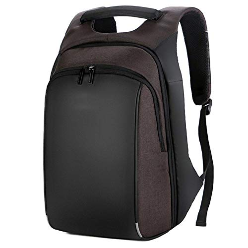 HJGHFH Laptop-Rucksack Geschäftsreise Lässiger Rucksack mit USB-Ladeanschluss Großes Fach College School Arbeitsrucksack für Männer/Frauen,Brown