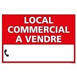 Panneau Immobilier Local Commercial à Vendre - Rouge - Plastique Rigide AKILUX 3,5mm - Dimensions 600x400 mm - Protection Anti-UV...
