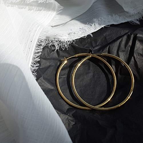 YOYOYAYA Ohrringe 14K Gold Beutel Übertrieben Kreise Weiblich Ornamente Mädchen Exquisite Parteien Termine Eleganz Geschenke, Große 55 Mm.