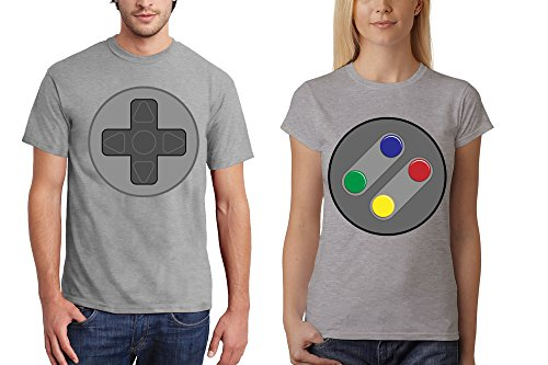 clothinx Herren T-Shirt für Gamer Snes Steuerkreuz oder Damen T-Shirt Snes Buttons Sports Grey / Buttons