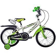 Schiano -  Bicicleta Niño 16 Pulgadas Runner con Ruedas Extraibles -  Blanco / Verde
