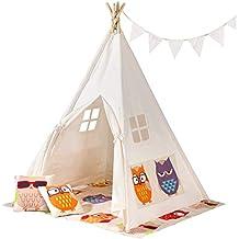 SONGMICS Tienda para Niños, Carpa Infantil, Tipi de Juegos Portátil con Ventana, Almohadas