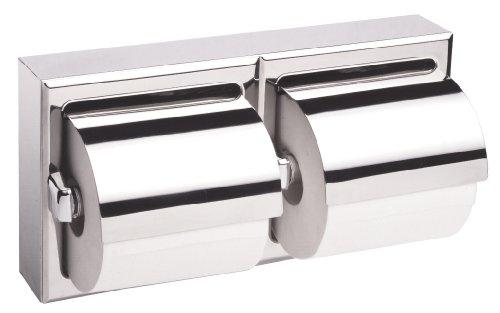Bobrick 6999Edelstahl Oberfläche montiert doppelte Rolle Toilettenpapier Spender mit Kapuze, hellen Oberfläche, 12–3/20,3cm Breite x 6–3/40,6cm Höhe