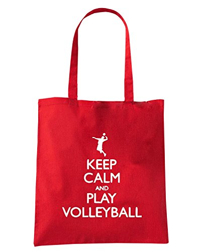 T-Shirtshock - Borsa Shopping SP0099 Keep Calm and Play Volleyball Maglietta Rosso
