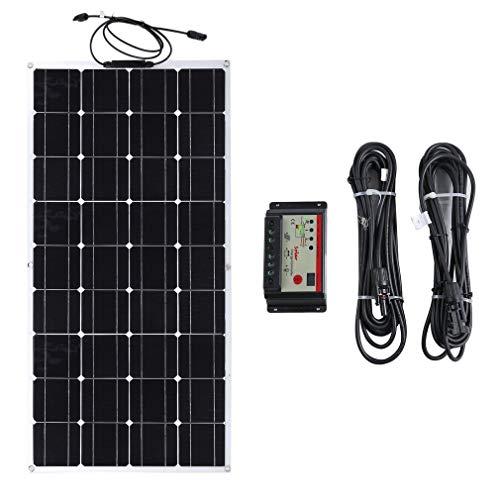 Solarpanel Solarmodul Photovoltaik Monokristallin Solarpanel Solarzelle 100Watt 12 Volt mit Controller und 2,5 m Verlängerungskabel für Wohnmobil, Garten, Boot