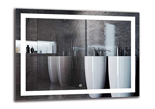 Espejo LED Deluxe - Dimensiones del Espejo 80x60 cm - Interruptor tactil - Espejo de baño con iluminación...