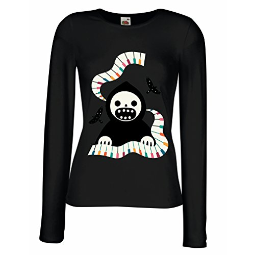 meln T-Shirt Halloween Horror Nights - The Death is Playing on Piano - cool Scarry Design (Large Schwarz Mehrfarben) ()