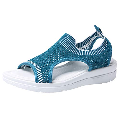Sandalen für Frauen/Dorical Damen Mädchen Atmungsaktiv Komfort Aushöhlen, Lässige Sommer Wedges Tuch Schuhe Frau Keil Peep Toe Sandals 35-45 EU(Dunkelblau,44 EU) ()