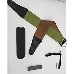 O³ Rasoir Barbier Professionnel-20 Lames Rasoir Barbier-Pierre a Aiguiser et Ceinture d'Affutage-Instructions en Francais