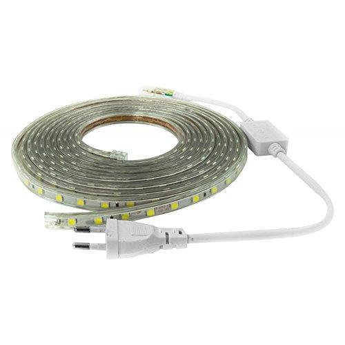 Nuova Striscia led 220 volt 5050 bianco freddo 5 metri 300 led ip65 compreso controller e spina