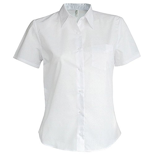Kariban Ladies Short Sleeve Easy Care Oxford Smart Casual Work Shirt Blue,White white