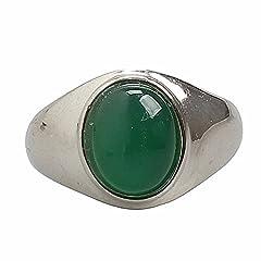 Idea Regalo - moda anello uomo titanio esercito gioielli retro gotico largo smeraldo onice ametista