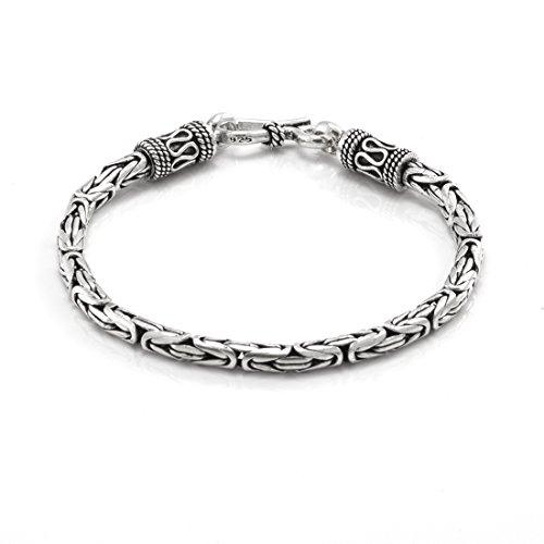 Silverly Pulsera Mujeres Hombres de Plata 925 Estilo Bizantina Serpiente