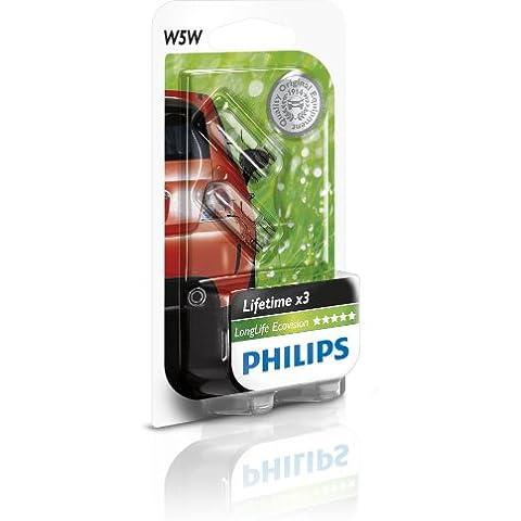 Philips 12961LLECOB2 LongLife EcoVision - Bombillas W5W para maletero, cuadro de mandos, compartimento interior, luces de posición y de matrícula (2 unidades)