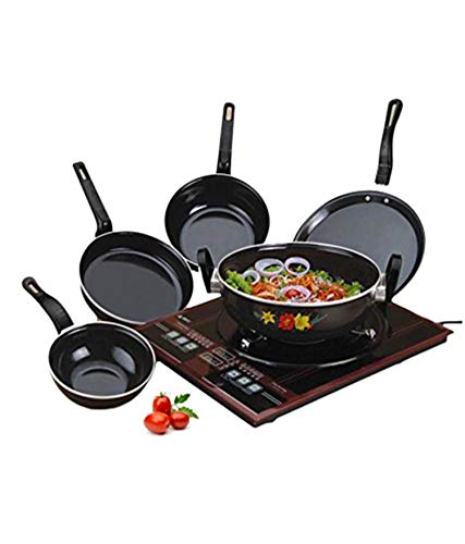 CELONA by Milion Rynox Induction Non-Stick Cookware Sets, Medium , Black -Set of 5 Pieces