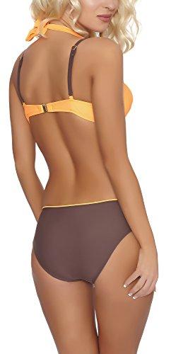 aQuarilla Damen Push Up Bikini Set LYON Orange/Braun