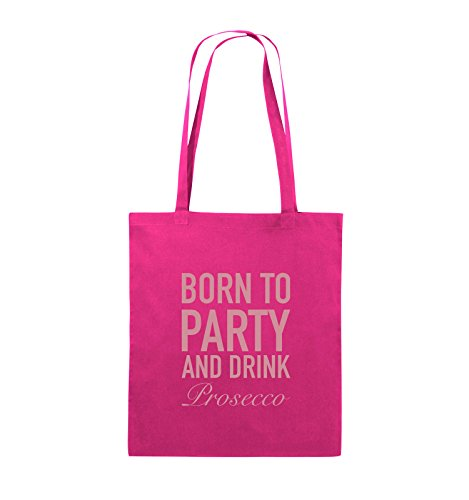 Comedy Bags - BORN TO PARTY - Prosecco - Jutebeutel - lange Henkel - 38x42cm - Farbe: Schwarz / Silber Pink / Rosa