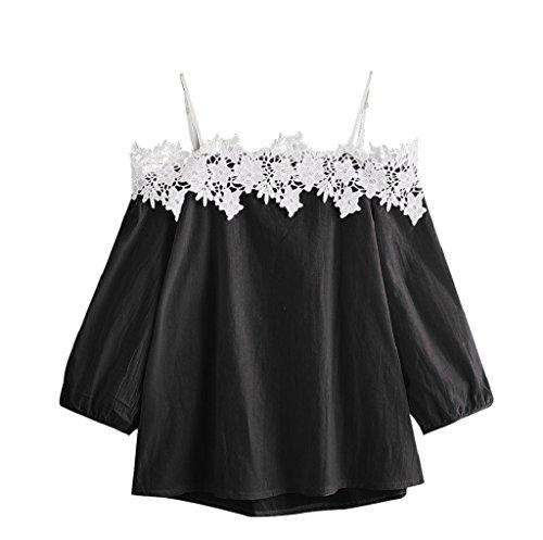 SEWORLD T-Shirt Damen Muttertag Geschenk Frauen Sommer Nadelstreifen aus der Schulter Bluse 3/4 Ärmel Spitze Patchwork Tops Oberteil(Schwarz,XL)