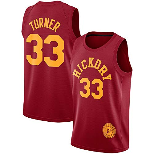 Myles Turner # 33 Herren Basketball Jersey - NBA Indiana Pacers, New Jersey Ärmelloses Shirt,Red-XL