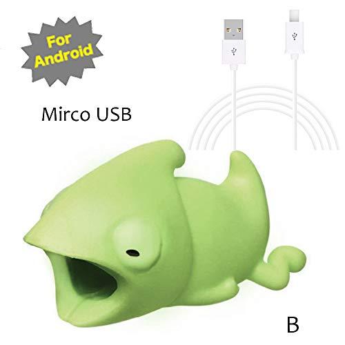 TAOtTAO Mrico USB & Type C Datenzeilenkombination Datenkabel enthalten Kabel-Schnur-Schutz-Schutz-Unterstützung, prevently kreatives nettes Tierkabel-Biss für iPhone Kabel-Schnur-Telefon-Zusatz schützt (B, Mrico USB(Weiß))