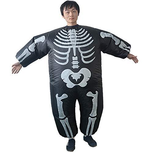 Herren Aufblasbar Skelett Schick Groß Schädel Overall Cosplay Sprengen Kostüm Komisch Thema Erwachsene Halloween Party Kostüm