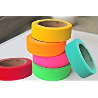 Set of 6 Attractive Neon Color Adhesive Paper Tapes for Decorative Purposes like Art and Craft