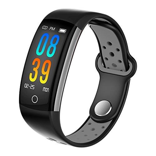 ZLLZ Smart Armband, Farbdisplay Schritt Herzfrequenz Bluetooth, Lange Standby-wasserdichte Sportarmband, Fitness-Tracker Smart Watch, geeignet für Männer und Frauen-Grey