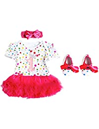 701bc84b849 First Birthday Tutu Romper Set Shoes Headband 1st Party Birthday Gift  Present Princess Spotty Pink Polka Dot Colourful Multicoloured One 1 Crown…