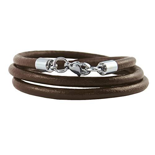 König Design Lederkette Lederhalsband Lederarmband Glatt 4 mm Herren Halskette braun 45 cm lang mit Karabiner Verschluss Silber Rund