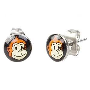 Men's Cheeky Monkey Stainless Steel Round Stud Earrings 7mm (Pair) by Urban Male