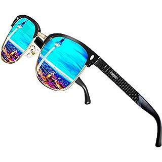ATTCL Herren Polarisierte Sonnenbrille Al-Mg Ultra Light Metall Rahmen 8-188 Blue