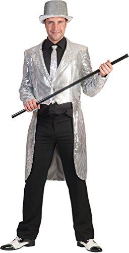 ,Karneval Klamotten' Kostüm Frack Pailletten silber mit Fliege schwarz Show Party Silvester Herrenkostüm Größe 56/58
