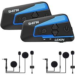 LEXIN 2X LX-B4FM Intercom Moto Bluetooth avec FM Radio pour 2 Casque, Jusqu'à 4 Motards Portée 1 Mile, Systèmes de Communication Anti Bruit pour Scooter/Motocyclette