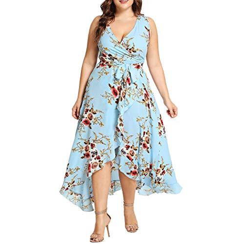 übergröße Kleider Damen Kolylong Frauen Elegant V-Ausschnitt Blumen Kleid 3/4 arm Festlich...
