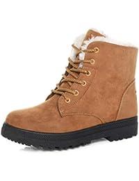 Women's Warm Suede Fabric Snow Shoes Flat Sole Boots Plus Velvet Winter Snow Boots Size 37 (Yellow)