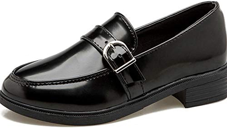 WFL Primavera Viento Suave Fondo Plano Lok Fu Zapatos Moda Salvaje Cuero Suave Negro Zapatos de Mujer,1,38