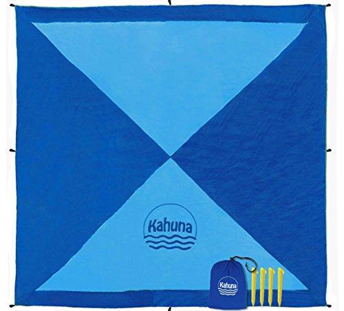 Kahuna Strandtuch aus Fallschirmseide – XXL 245 x 245 cm – die größte Stranddecke, Picknickdecke, Campingdecke – Tragbar, Dünn & Ultraleicht, Schnell Trocknend, mit 12 Sandtaschen