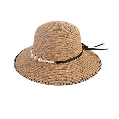 Produp Women Beach Straw hat Jazz Sunshade Panama Pearl Fedora Hut Gangster Cap würdevoll und großzügig Nizza und komfortable Hut