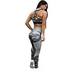 Women Pants, Womens 3d Honeycomb Print Yoga Skinny Workout Gym Leggings Sports Training Cropped Pants Hight Waist Yoga Fitness Leggings Running Gym Stretch Sports Pants Trouser (Gray, L)