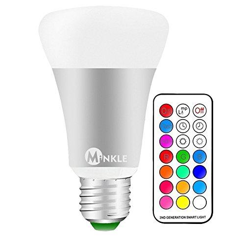 LED RGBW Lampe mit Fernbedienung, 10W A19 E27 Base Dimmbare Birne mit RGB und Kaltweißem Licht, RGB + Weiß [Energieklasse A++]